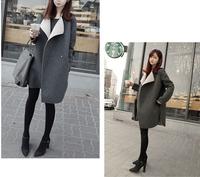 2014 NEW arrival turn-down collar women plus size loose wool coat winter coat outerwear black gray S M L XL XXL