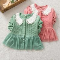 Kid Girls Jacket Lapel Coat Lace Crochet Button Front Outerwear Cotton Jacket