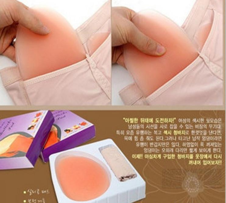 Free shipping hip up Bottom butt-lifting panties 2 silica gel insert pants invisible hoop(China (Mainland))