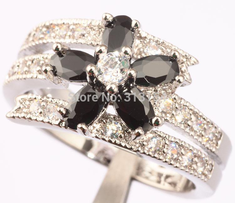 Venta caliente! venta al por mayor y al por menor para mujer joyería negro Onyx blanco Topaz y Cubic Zirconia anillo de plata talla 7 / 9 NJ6280(China (Mainland))