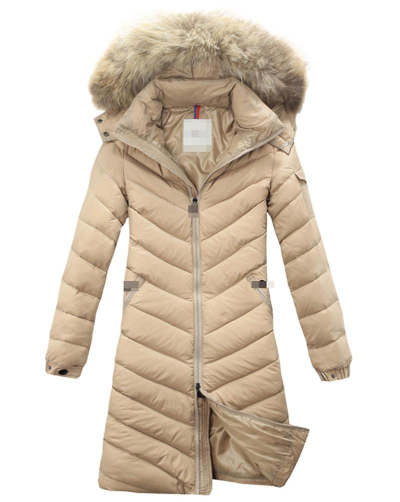 Winter Down Jackets 2014 High Quality Brand Women Warm Slim Large Fur Collar Goose Down Parkas Black Lady Long Down Coats lw8281(China (Mainland))