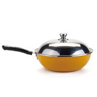 32cm Yellow Non-stick Frying Pan No Lampblack Wok Cooker Special Enamel  Free Shipping