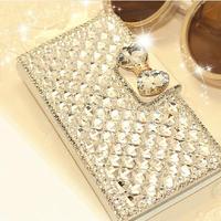 Luxury Bling Rhinestone Leather Diamond Flip Case For Xiaomi M4 MI4 M3 MI3 M2S M2A Redmi Note Bag Cover With Card Holder