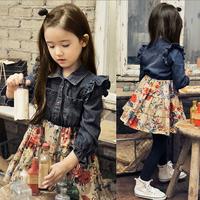 New Style Kids Girls Denim Floral Dress Long Sleeve Princess Ruffle Dress