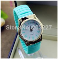 Silicone Golden Quartz Ladies Women Girl Jelly Wrist GENEVA Watch Women Candy Colors Free Shipping
