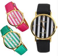 Free Shipping! New Fashion Leather GENEVA Watch For Ladies Women Dress Watch Quartz Watches 2pcs in lot
