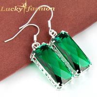 Best Xmas Gifts Trendy brincos grandes Unique Rectangle Green Amethyst Earrings For Women Silver Dangle Earrings