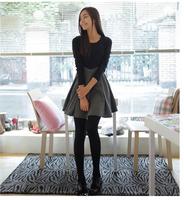 2014 new arrvied cotton patchwork women long sleeve bottoming dress fashion winter dress S M L XL XXL