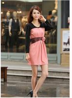 Free shipping Patchwork 3D flower long sleeve Autumn dress women slim casual bottoming dress Pink Red Blue S M L XL XXL