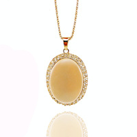 Europe And America Fashion Jewelry Vintage Oval Shape Cat's Eye Stone Sweater Accessories Long Chain Necklace Wholesale MYL029