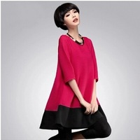 free shipping !  girl's waves loose dress women's korean style oversize clothing 4XL female half sleeve mini dress