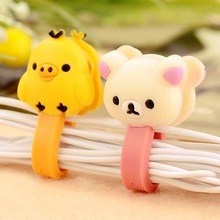 Electronic 2014 New 6pcs Cartoon Animal Hello Kitty Smart Wire Cord Cable Winder Drop Clips Ties Organizer Line Fixer Holder R16