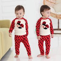 New Style Kids Boys Polka Dots Bee Pattern   2PCS Tops+Pants Set