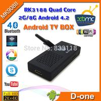 Free shipping 1pcs MK908B Android 4.2 Mini PC TV Box WiFi Antenna RK3188 quad core 2GB 8GB Bluetooth smart tv Stick MK908ii