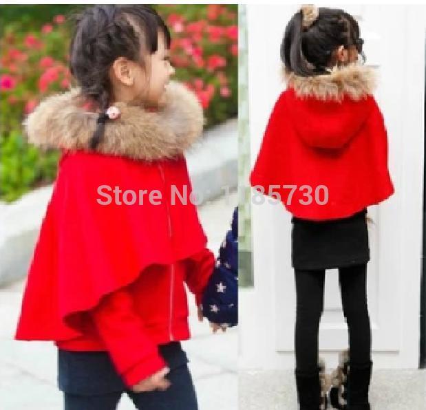 Зима дети в одежда девочка красный большой толстый верхняя одежда енот мех воротник шерстяная ткань мыс дети верхний пальто