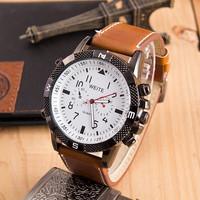 High Quality WEITE Brand Men Watches Quartz Watch Pu Leather Strap Military Watches Wristwatches AW-SB-1075