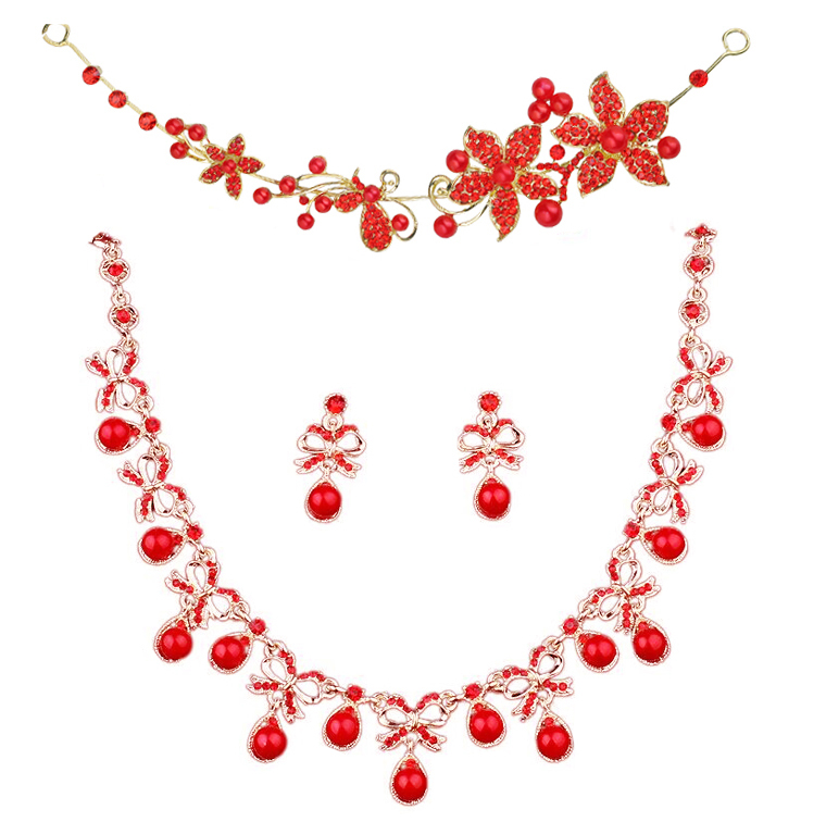 The bride tiara crown three red necklace earrings crown toast clothing garments suit bag free shipping(China (Mainland))