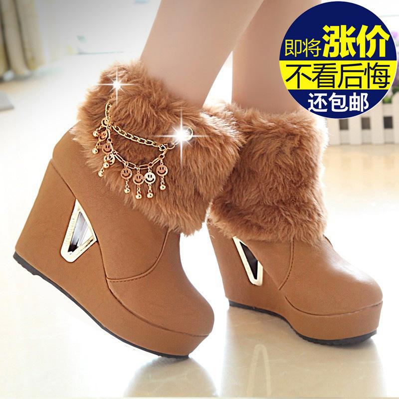 женские полусапожки теплой клинья высокие каблуки