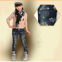 Girls' jeans autumn Cartoon jeans 4-8T wear clothes kids for jeans denim pants trousers cartoon print pants 1PC
