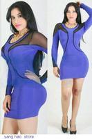 New Fashion Women Sexy Blue Black Patchwork Mesh Brief Winter Bandage Bodycon Dress 2014 Vestidos de fiesta