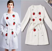European Runway Coat Women's Cute Long Sleeves White Fruit Strawberry Embroidery Beaded Dobby Wish Sashes Long Trench Coat