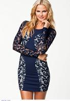 Fashion Blue Women Winter Navy Color Block Long Sleeve Mini Brief Vintage Bodycon Party Lace Dress vestido de festa 2014