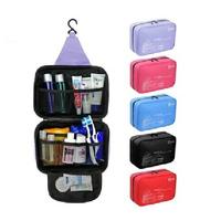 Free shipping wholesale retail black purple blue fuchsia color polyester waterproof women men wash bag toilet kits for travel