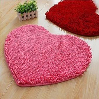 Design moderno sala de estar tapete shaggy veludo em forma de coração decoração de moderna de banho tapete rosa(China (Mainland))