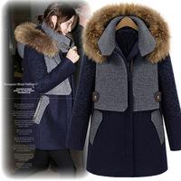 2014 New Fashion European Style Winter Woolen Fur Fox Overcoat Patchwork Plus Size Clothing  Woolen Outerwear Free Shipping