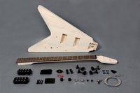 "Flying ""V"" style 4 strings electric bass guitar DIY kit"