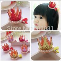 20pcs/lot Mixed Colors Korea Pearl Tiaras Clip Accessory Baby Glitter Crown Princess Diamond Hair Jewelry hair accessories