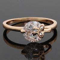 Christmas Gift New Women Elegant 18K Gold Plated Rings Fashion Ruby CZ Rings Fashion Design O Wedding Bands ring New