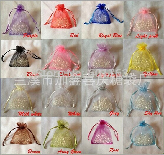 7*9 CM ORGANZA BAGS , WEDDING TABLE SCATTERS ROSE PETALS CANDY PACKING 24 colors For U pick(China (Mainland))