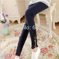 2014 Korean Legging Sexy Lace Leggings Women Hollout Out Hook Flower Stretch Leggings Slim Legging Pants Leggins For Women