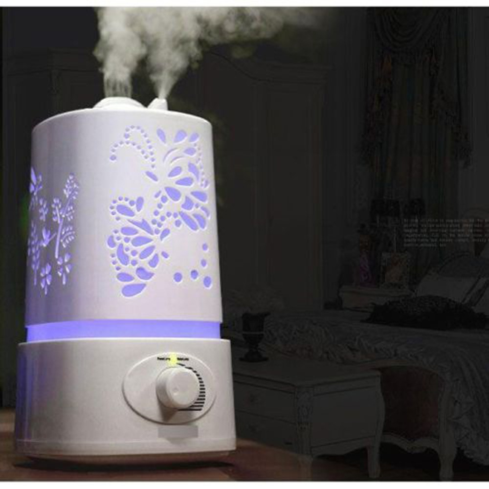New Ultrasonic Home Aroma Air Humidifier Aromatherapy Diffuser Purifier Lonizer Atomizer With Carve Patterns Design LED Light(China (Mainland))