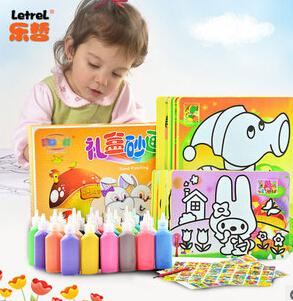 2014 kind brinquedos leren& onderwijs 37 stuks kleur zand schilderij set tekening speelgoed voor kinderen, flessen gekleurde zand lucht te koop(China (Mainland))