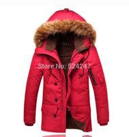 2014 Men'S Winter Jacket Brand Coat Thick Plus Velvet Fur Collar Hooded Down Cotton Padded For Men Fashion Jackets XG35-207