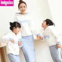 2014 new sudaderas kids brand children' clothing sets baby mom / girl / boy winter clothes dress fleece hoodies sweater family