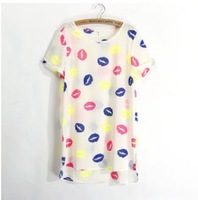 2014 New Fashion Lady Blouses Hot Short Sleeve Summer Women Chiffon Shirt Top Quality Printing Blusas Cloth Free Shipping