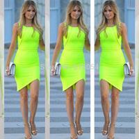 Sexy Green Miter Bandage Bodycon Casual Dress Sleeveless Tank Women Summer Dress Party Dresses Mini Clothing Vestidos