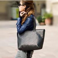 New black knitted bag women's handbag large casual winter all match fashion plaid shoulder bag female tote bolsos
