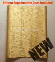 Gold colour 2014 African SEGO headtie,New design Gele&Ipele,Head Tie&Wrapper,2pcs/set,wholesale