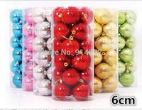 free shipping  24pcs/ lot  6cm Christmas tree decorative ball / holiday decoration ball  DIY