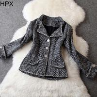 Women Fashion Casual Woolen Twilled Tweed Long Sleeve Single Breasted Slim Short Coat,Ladies Brand 2014 Autumn Winter New O1026