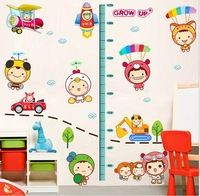Wholesale price 5pcs/lot Free shippping to all countries Height measure for children removable wall stickers for kids rooms