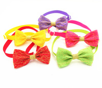 New Pure Colors Gauze Dog Pet Bow Ties Dog Adjustable Neck Ties Puppy Cat Ties Collars Pet Grooming 50PC/Lot Free Shipping