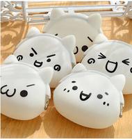 Korea cartoon Coin Purses  cute face silicone coin bag  girl small clutch free shipping