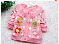 Retail Free shipping 1pcs baby girl coat Kids spring autumn Wear Sweet flower long Sleeve Sweatshirts Children clothes Clothing
