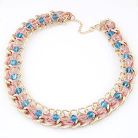 Fashion Gold Plating Choker Crystal Beads Short Necklace Jewelry High Quality