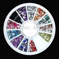 600PCS 12Colours Star Shape Acrylic Rhinestones Wheel Nail Art Decoration Free Shipping 25#
